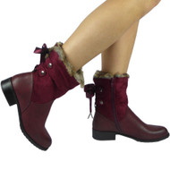 """LODEMA"" Wine Fur Lining Ribbon Ankle Boots"