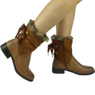 """LODEMA"" Camel Fur Lining Ribbon Ankle Boots"