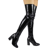 """""""NARA"""" Black Patent Over The Knee Boots"""