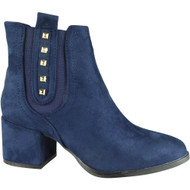 """AISFORD"" Blue Cuban Heel Zip Stud Ankle Boots"