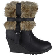 """ISOBEL"" Black Zip Fur Lining Wedge Heel Ankle Boots"