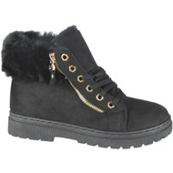 """SKYLER"" Black Fur Lining Zip Lace Up Flat Trainers"