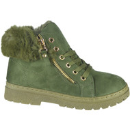 """SKYLER"" Green Fur Lining Zip Lace Up Flat Trainers"