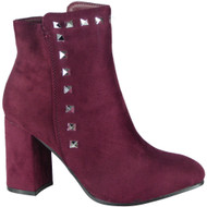 """AMBER"" Wine Zip Block Heel Studded  Ankle Boots"