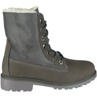 """ALDYS"" Grey Lace Up Fur Lining Cuban Heel Ankle Boots"