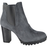 """ALECIA"" Grey Block Heel Chelsea  Ankle Boots"