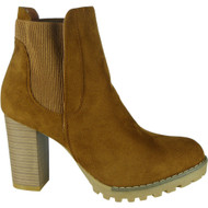 """ALECIA"" Camel Block Heel Chelsea  Ankle Boots"