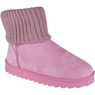 """AELFWINE"" Pink Fur Sock Flat Ankle Boots"