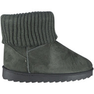 """AELFWINE"" Grey Fur Sock Flat Ankle Boots"