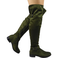 """LEOMA"" Green  Cuban Heel Over The Knee Boots"