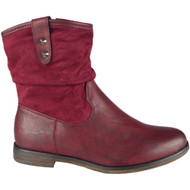 """ODELLA"" Wine  Ruched Cuban Heel Ankle Boots"