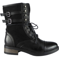 """NORVELLA"" Black Buckle Lace Up Cuban Heel Ankle Boots"