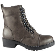 """YETTA"" Grey  Chain Lace Up Cuban Heel Ankle Boots"