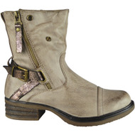 """WILOW"" Khaki Zip Buckle Cuban Heel Ankle Boots"