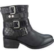 """WHALEY"" Black Buckle Strap Cuban Heel Ankle Boots"