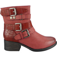 """WHALEY"" Wine Buckle Strap Cuban Heel Ankle Boots"