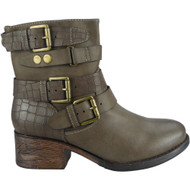 """WHALEY"" Khaki Buckle Strap Cuban Heel Ankle Boots"