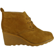 """WAVERLY"" Camel Lace Up Wedge Heel Ankle Boots"