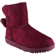 """TYLER"" Wine Faux Fur Flat Warm Ankle Boots"