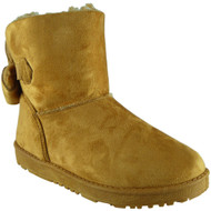 """TYLER"" Camel Faux Fur Flat Warm Ankle Boots"