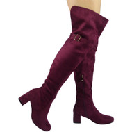 """TRILBY"" Wine Buckle Strap Cuban Heel Over Knee Boots"