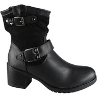 """TORY"" Black Cuban Heel Buckle Strap Ankle Boots"