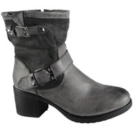 """TORY"" Grey Cuban Heel Buckle Strap Ankle Boots"