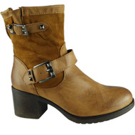"""TORY"" Camel Cuban Heel Buckle Strap Ankle Boots"