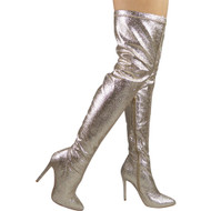 """TINBLE"" Gold Glitter Stiletto Heel Over Knee Boots"