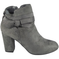 """STARLING"" Grey Zip Bow Cuban Heel Ankle  Boots"
