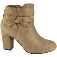 """STARLING"" Khaki Zip Bow Cuban Heel Ankle  Boots"