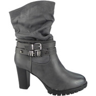 """SPRING"" Grey Strap Buckle Block Heel Ankle  Boots"