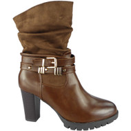 """""""SPRING"""" Tan  Strap Buckle Block Heel Ankle  Boots"""