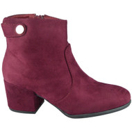 """SPARROW"" Wine Button Cuban Heel Ankle  Boots"