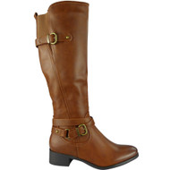 """SKYLA"" Camel Buckle Strap Cuban Heel Knee High Boots"