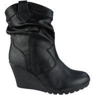 """SHELLEY"" Black Rouched  Wedge Heel Ankle Boots"