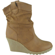"""SHELLEY"" Camel Rouched  Wedge Heel Ankle Boots"