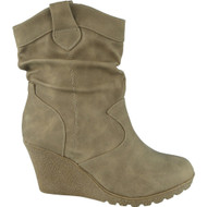 """SHELLEY"" Khaki Rouched  Wedge Heel Ankle Boots"