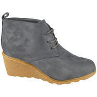 """WAVERLY"" Grey Lace Up Wedge Heel Ankle Boots"