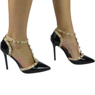 """PETULA"" Black Kitten Heel T-Bar Ankle Strap Sandals"