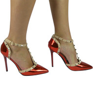 """PETULA"" Red Kitten Heel T-Bar Ankle Strap Sandals"
