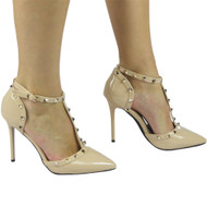 """PETULA"" Beige Kitten Heel T-Bar Ankle Strap Sandals"