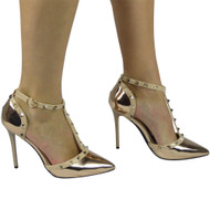 """PETULA"" Champagne Kitten Heel T-Bar Ankle Strap Sandals"
