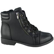 """ULA"" Black Army Work Zip Ankle Boots"