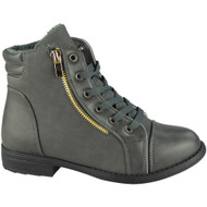 """ULA"" Grey Army Work Zip Ankle Boots"