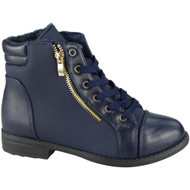 """ULA"" Blue Army Work Zip Ankle Boots"