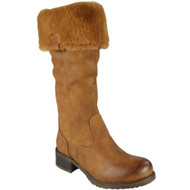 """IMIZA"" Camel Fur Lining Knee High Boots"