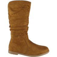 """RYESEN"" Tan  Long Zip Rouched Faux Suede Boots"