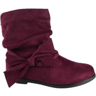 """RUE"" Wine Zip Faux Suede Ankle Boots"