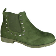 """LINLEY"" Green Suede Cuban Heel Chelsea Ankle Boots"